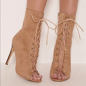 Prettylittle thing lace up open toe ankle boot